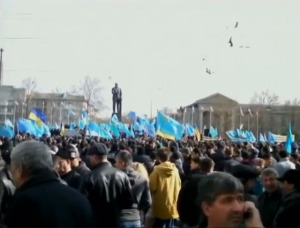 proukrainische Demonstration in Simferopol, Februar 2014